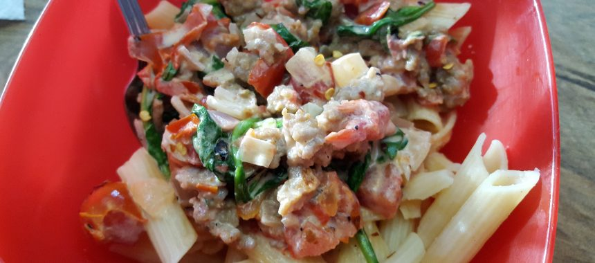 Italian Sausage Rigatoni with Creamy Tomato Sauce